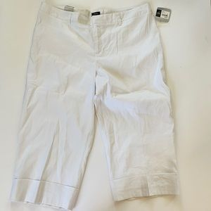 MERONA WHITE cuffed cropped linen blend pants NWT